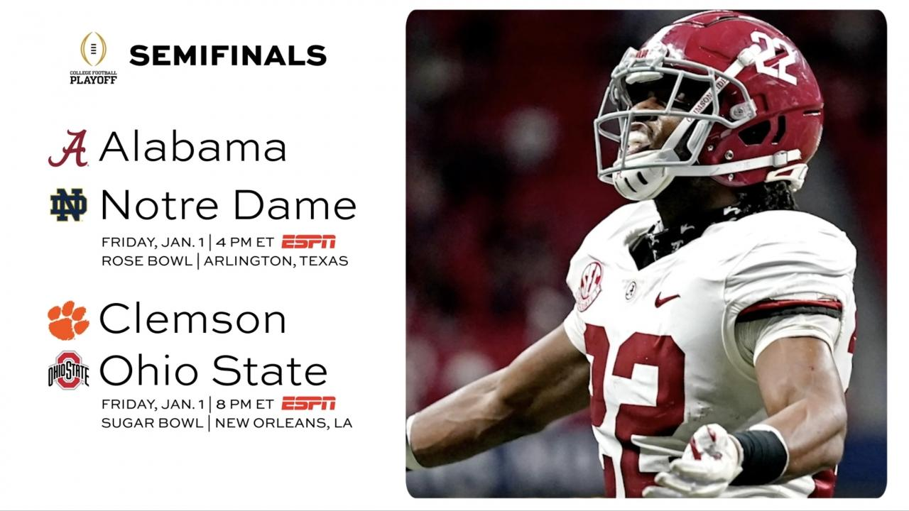 College Football Playoff Alabama Clemson Ohio State And Notre Dame Lead Rankings Ncaa Com