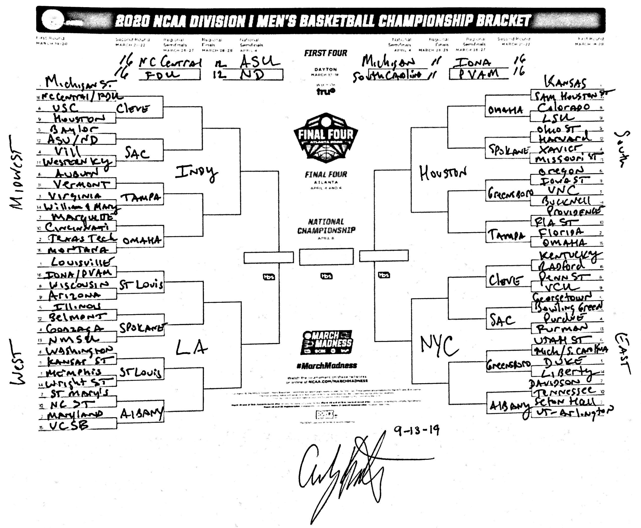 The 2020 Ncaa Bracket Predicted 50 Days From Opening Night Ncaa Com