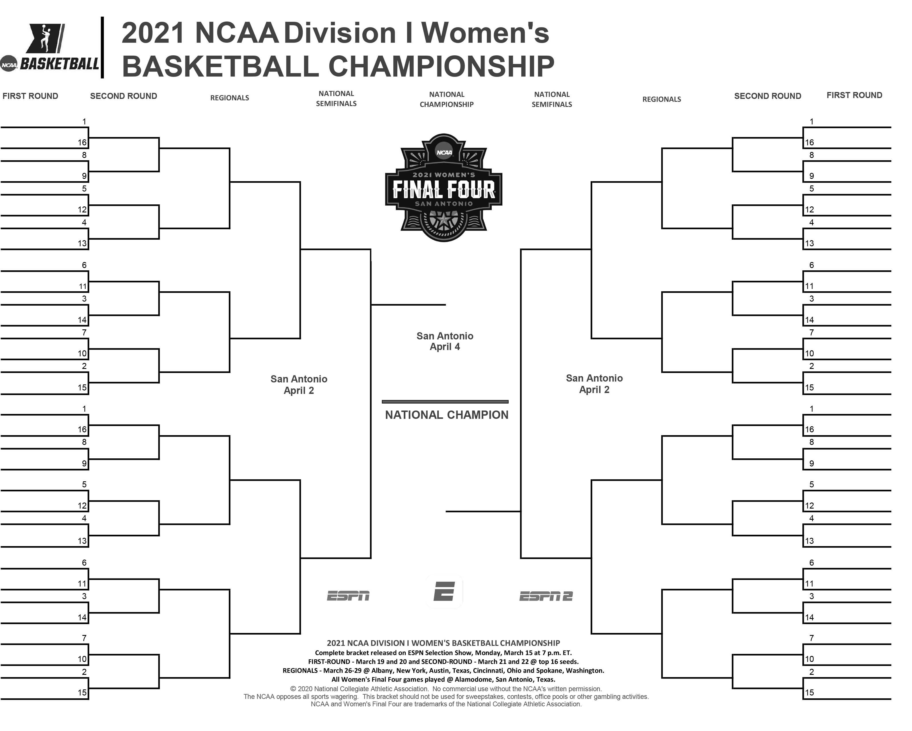 Best March Madness Bracket 2021 2021 NCAA women's basketball bracket: Printable tournament .PDF