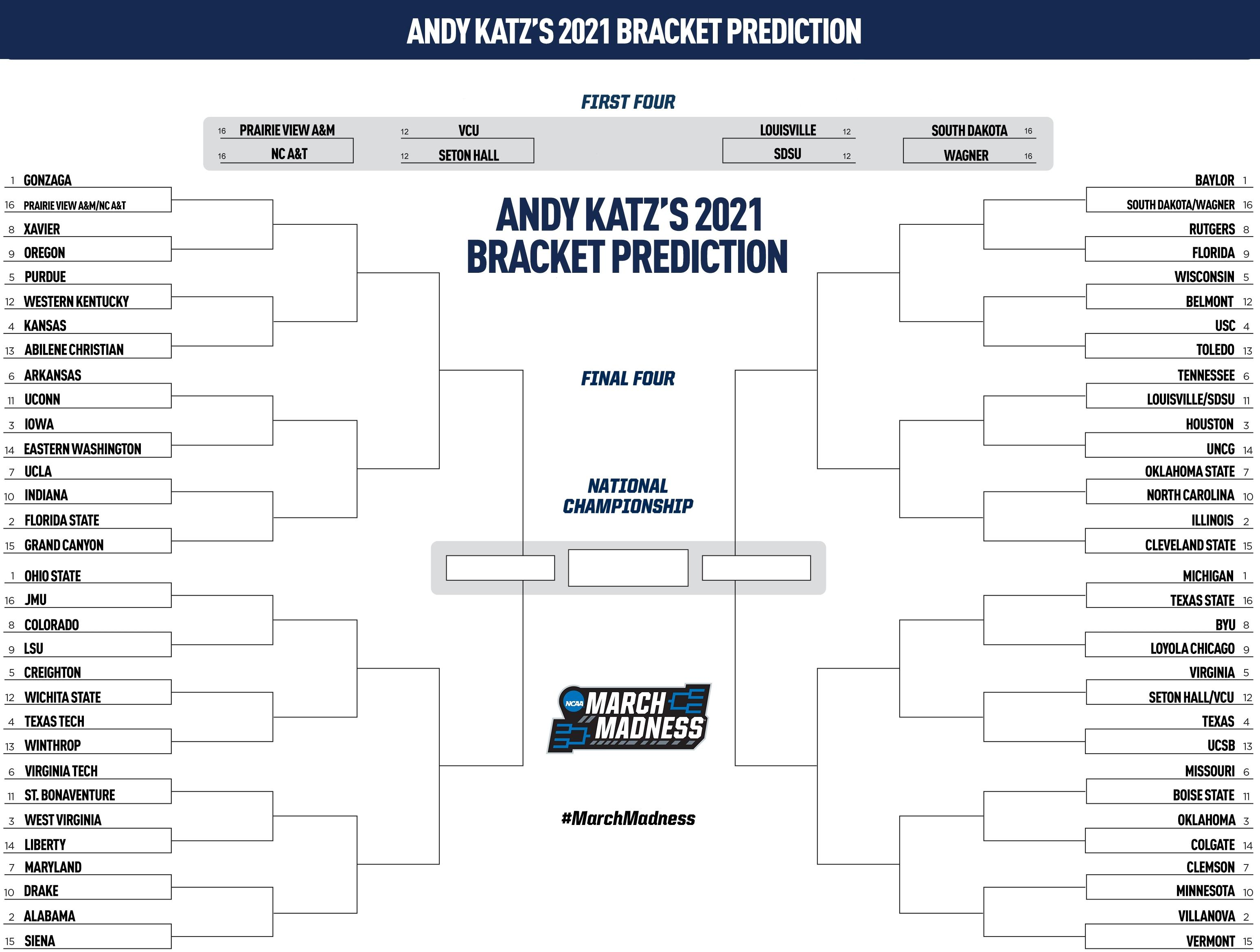 The 2021 NCAA bracket, predicted by Andy Katz based on games through Feb. 21.