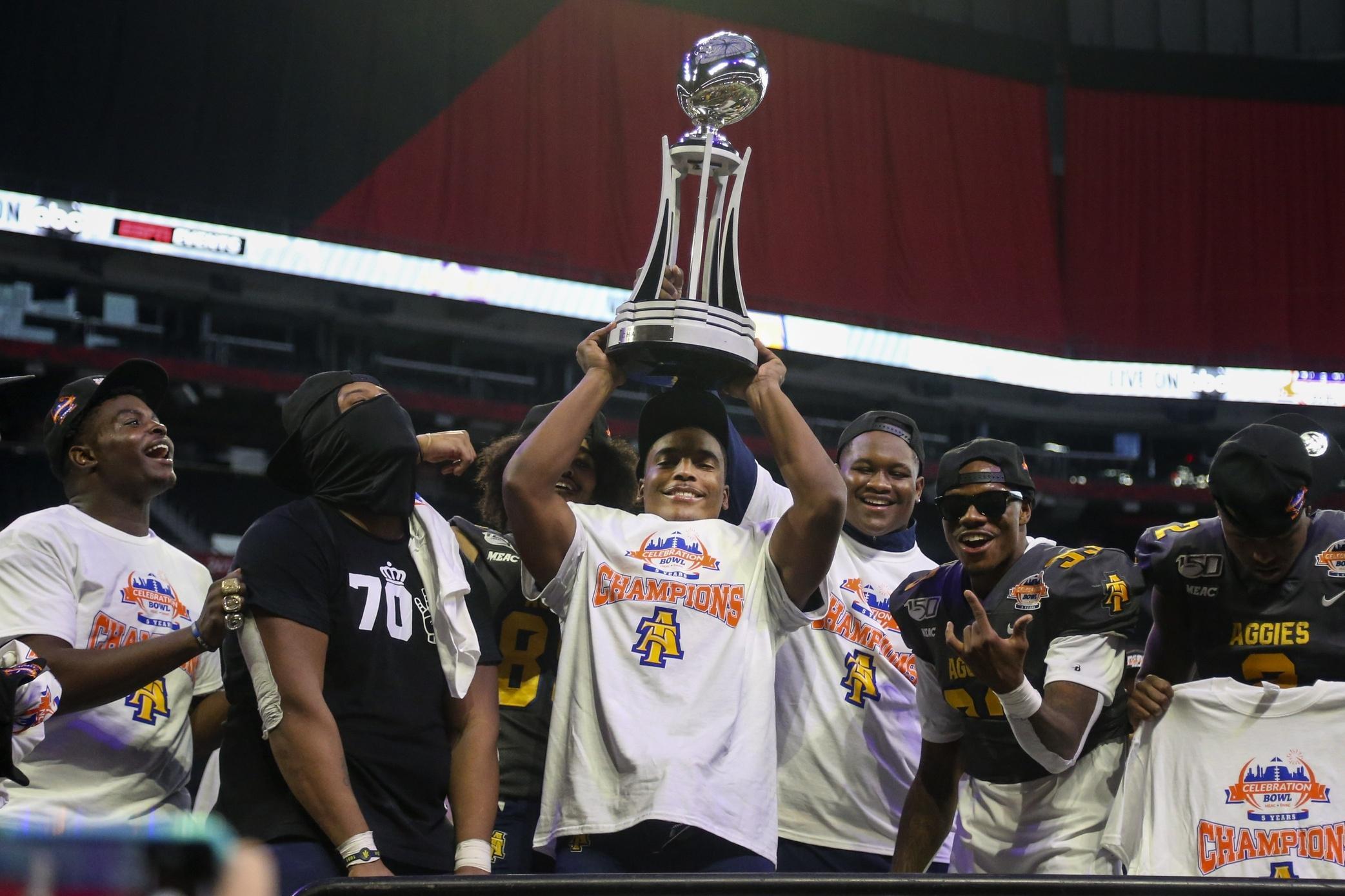 North Carolina A&T hoists the 2019 Celebration Bowl trophy