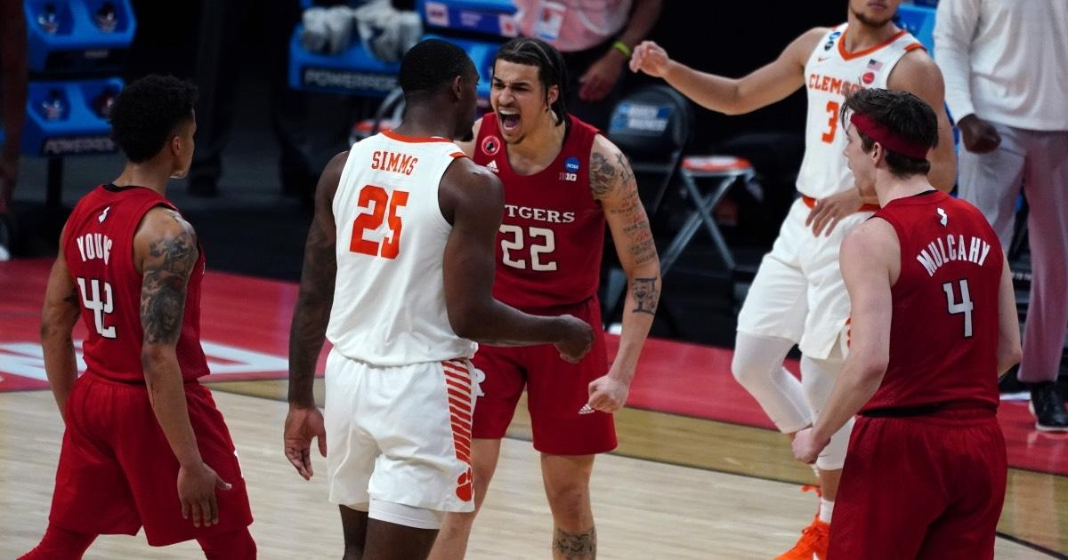 Rutgers' Caleb McConnell screams during a 2021 NCAA Tournament matchup with Clemson.