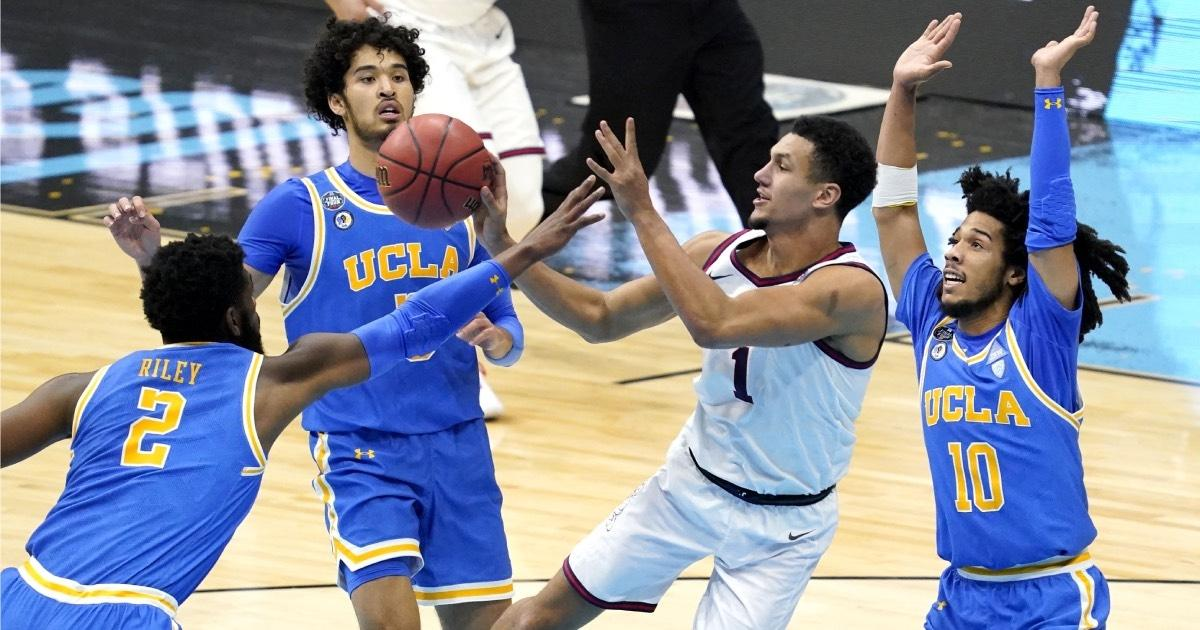 Gonzaga's Jalen Suggs drives against UCLA in the Final Four.