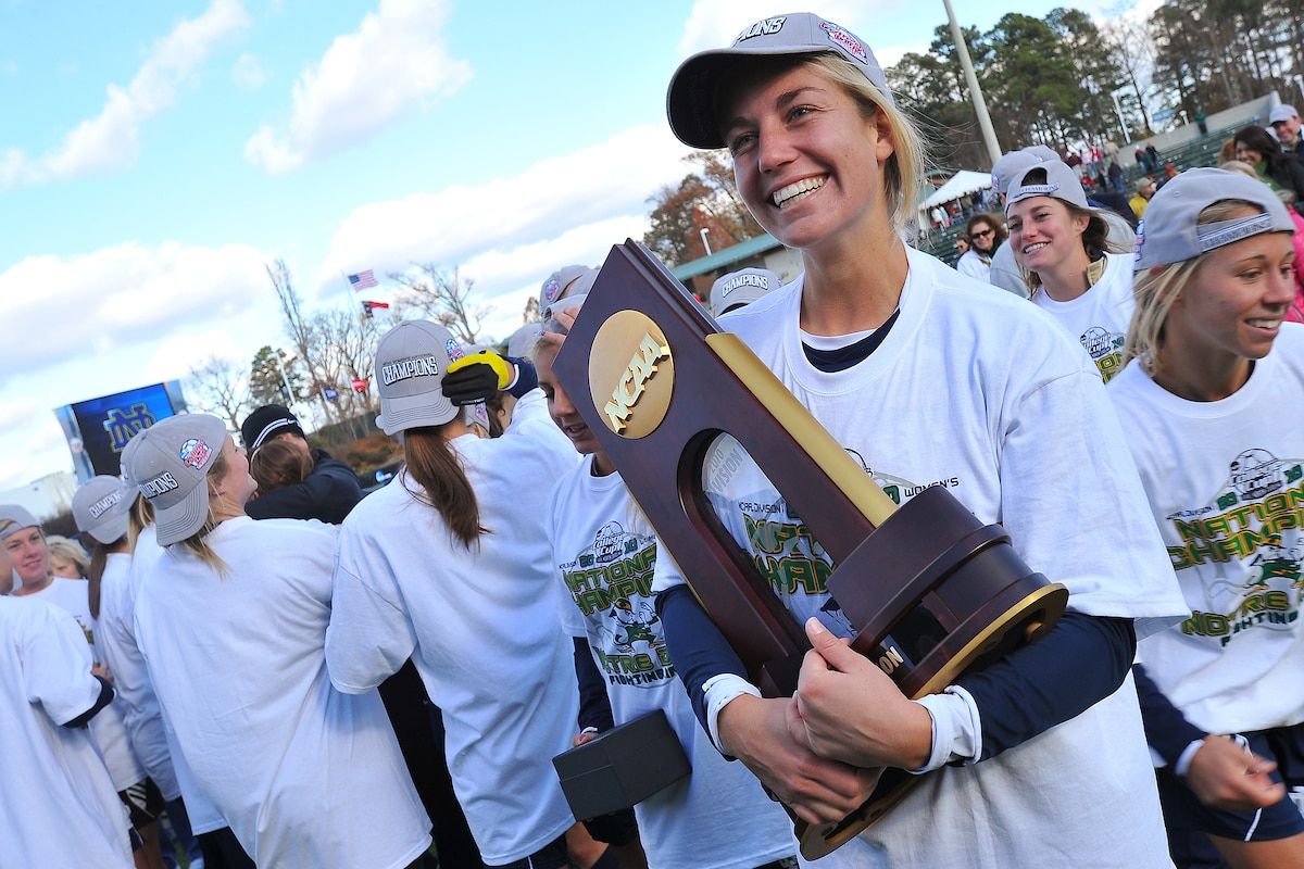 Notre Dame's Lauren Fowlkes holds the National Championship trophy following the team's 1-0 victory over Stanford in 2010.