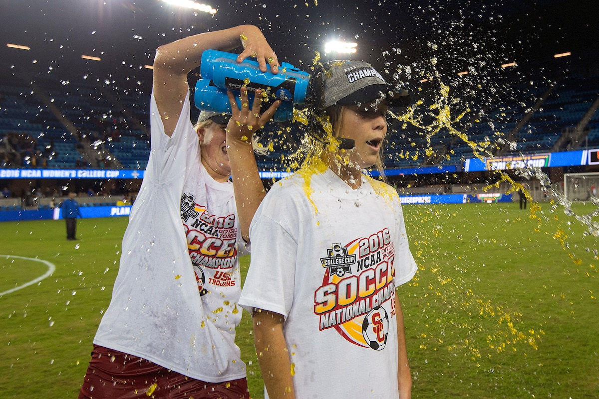 USC's Katie Johnson is doused with powerade after defeating West Virginia 3-1 during the 2016 national championship.