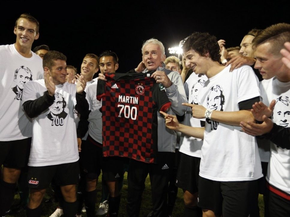 Jay Martin becomes first NCAA soccer coach to reach 700 wins.
