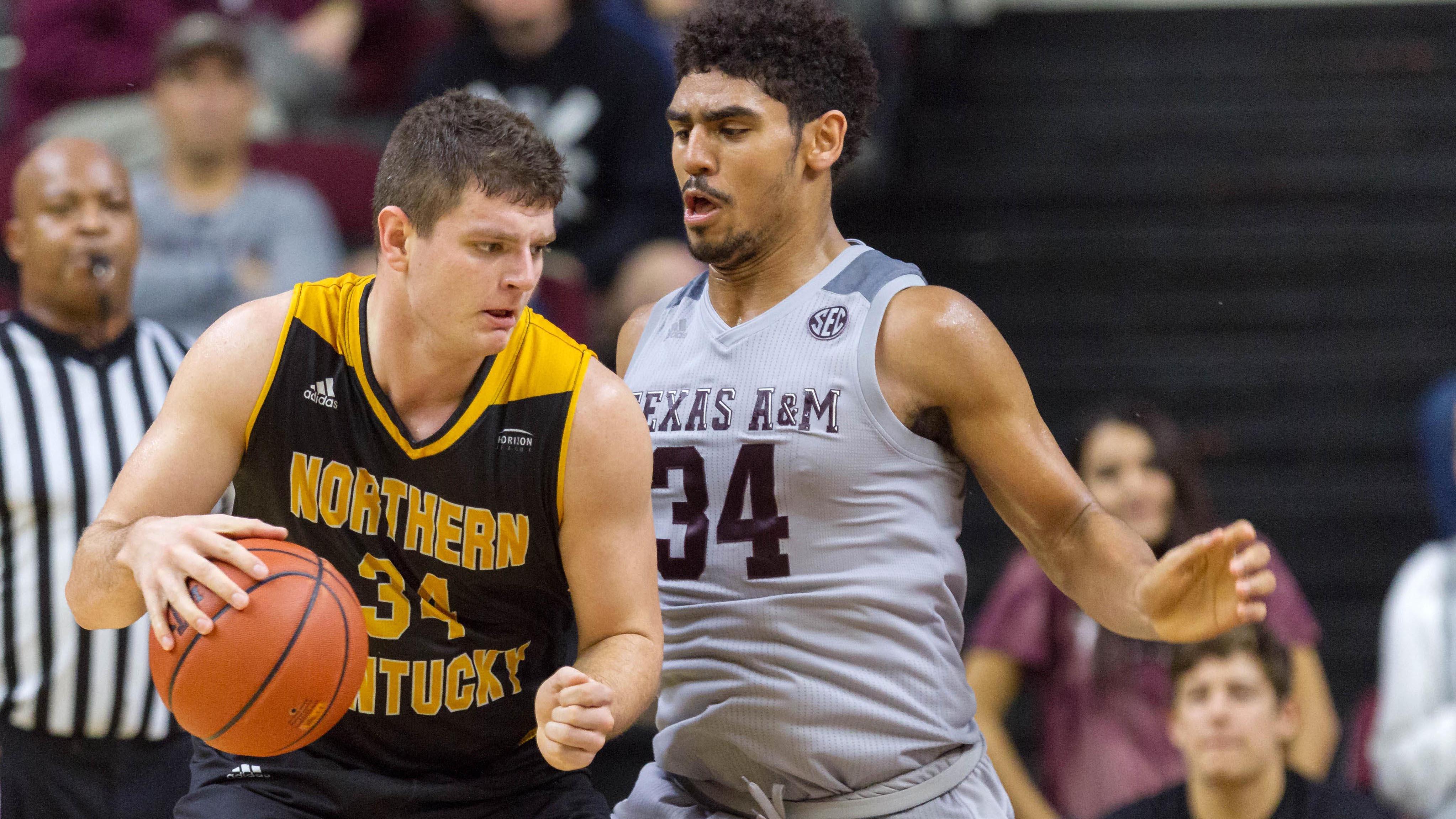 Northern Kentucky's Drew McDonald backs down a defender