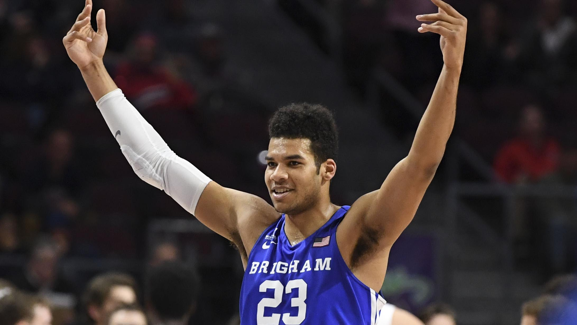 BYU's Yoeli Childs pumps up the crowd