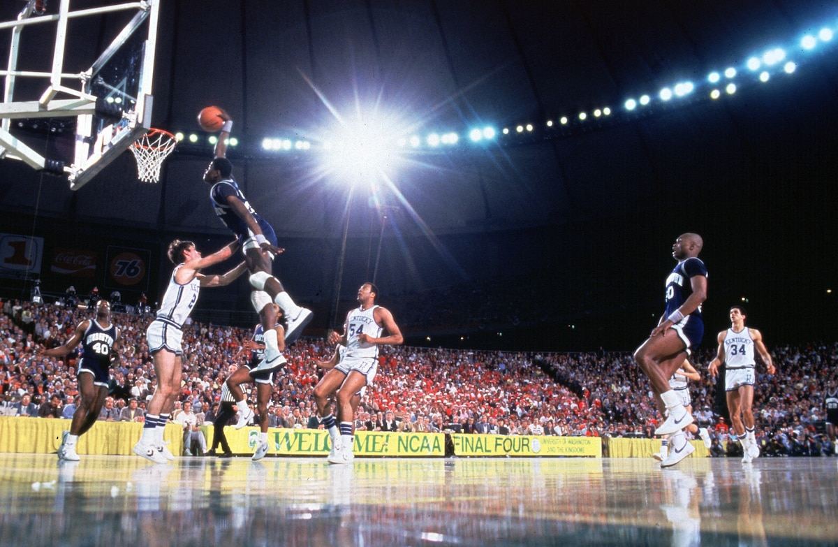 Patrick Ewing goes for the dunk in the 1984 Final Four.
