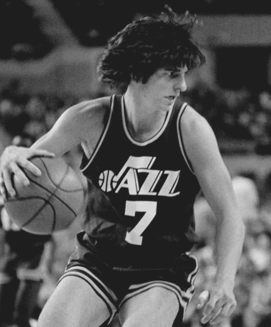 Pete Maravich plays with the Utah Jazz in 1977.