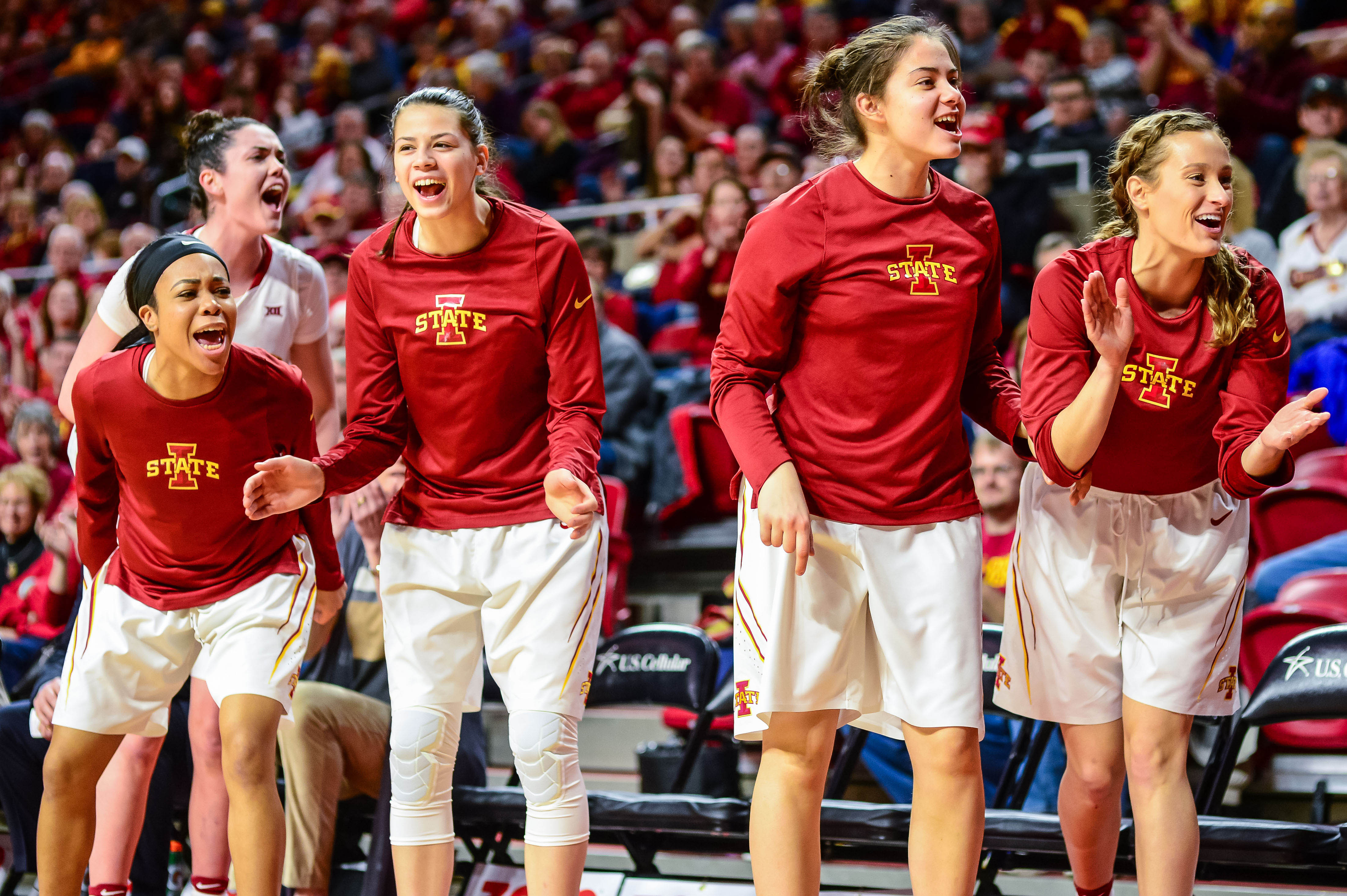 The Iowa State Cyclones bench reacts during a game last season.