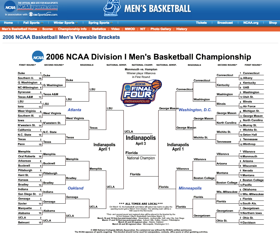 2006 bracket on NCAAsports.com