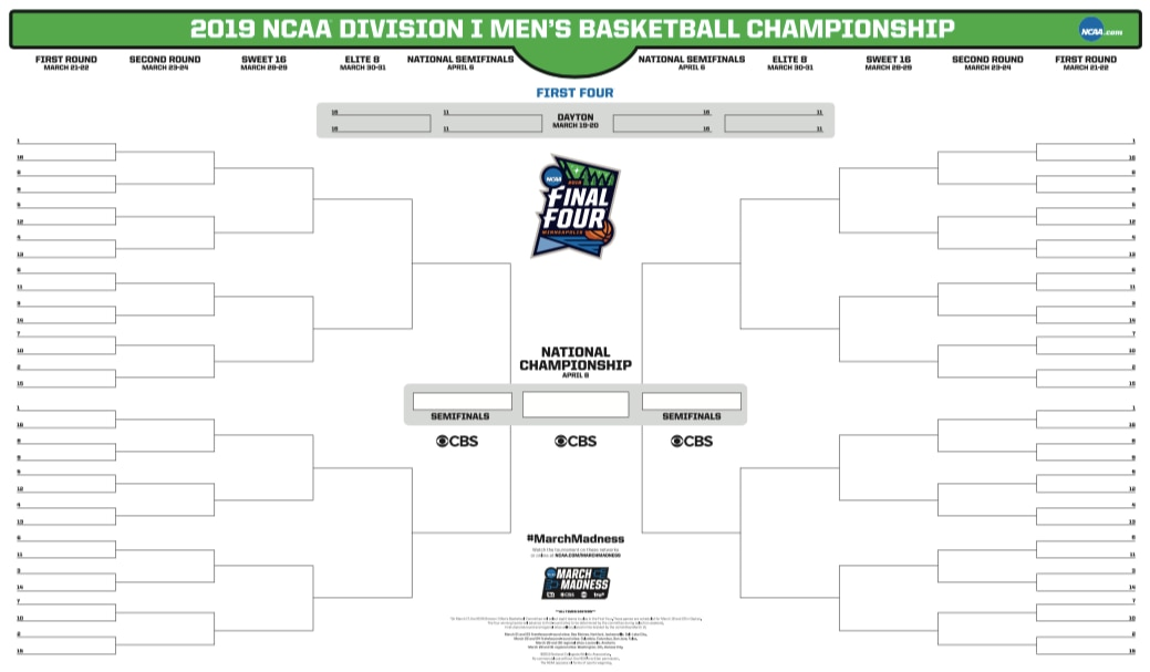 It is a photo of Impeccable March Madness Printable