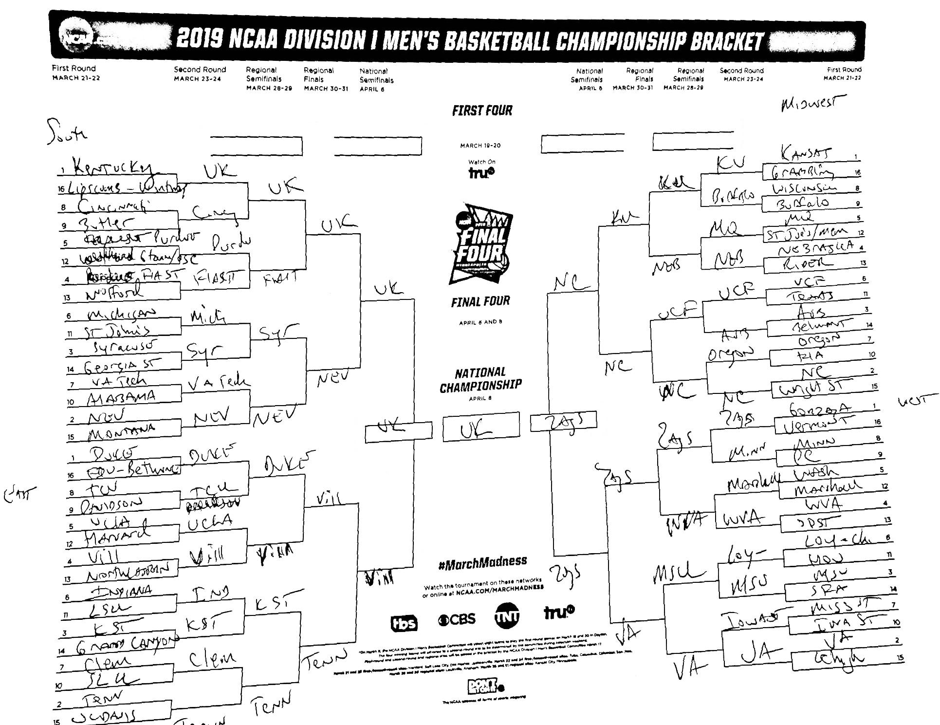 Andy Katz's preseason NCAA tournament bracket for the 2019 tournament.