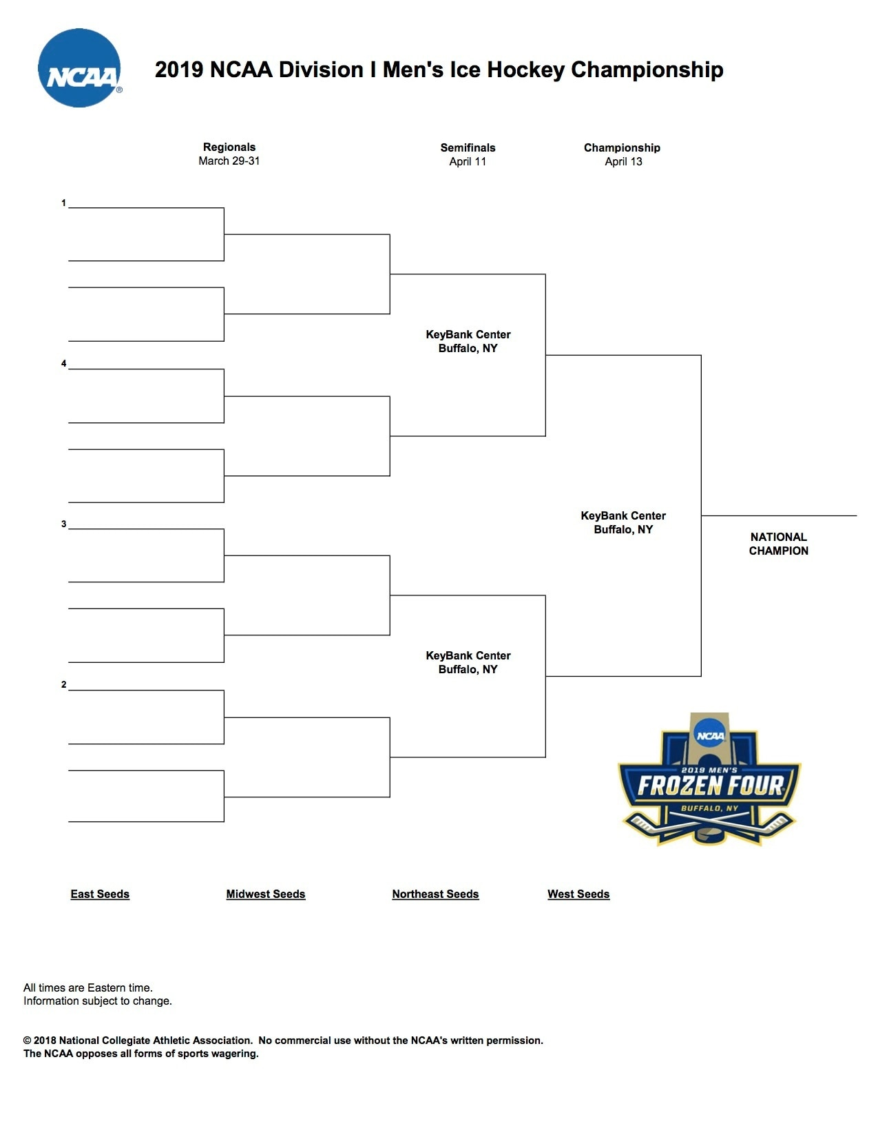 image relating to Printable Nhl Bracket named Frozen 4 bracket: Printable 2019 NCAA hockey event .PDF