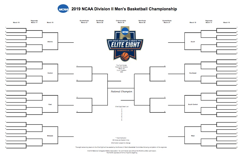 Ncaa Dii Bracket 2019 Printable Dii Men S Basketball Tournament