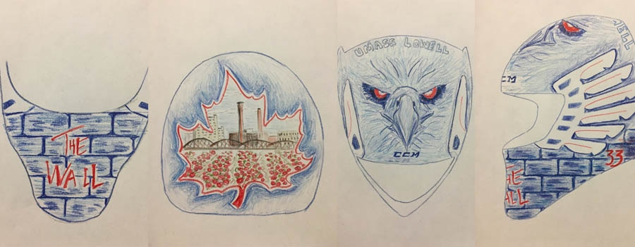 Tyler Wall sketches his mask design