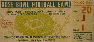 1942 Rose Bowl ticket