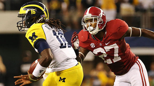 Alabama's Nick Perry has 41 tackles with two tackles for loss, a sack and four pass breakups in his career.