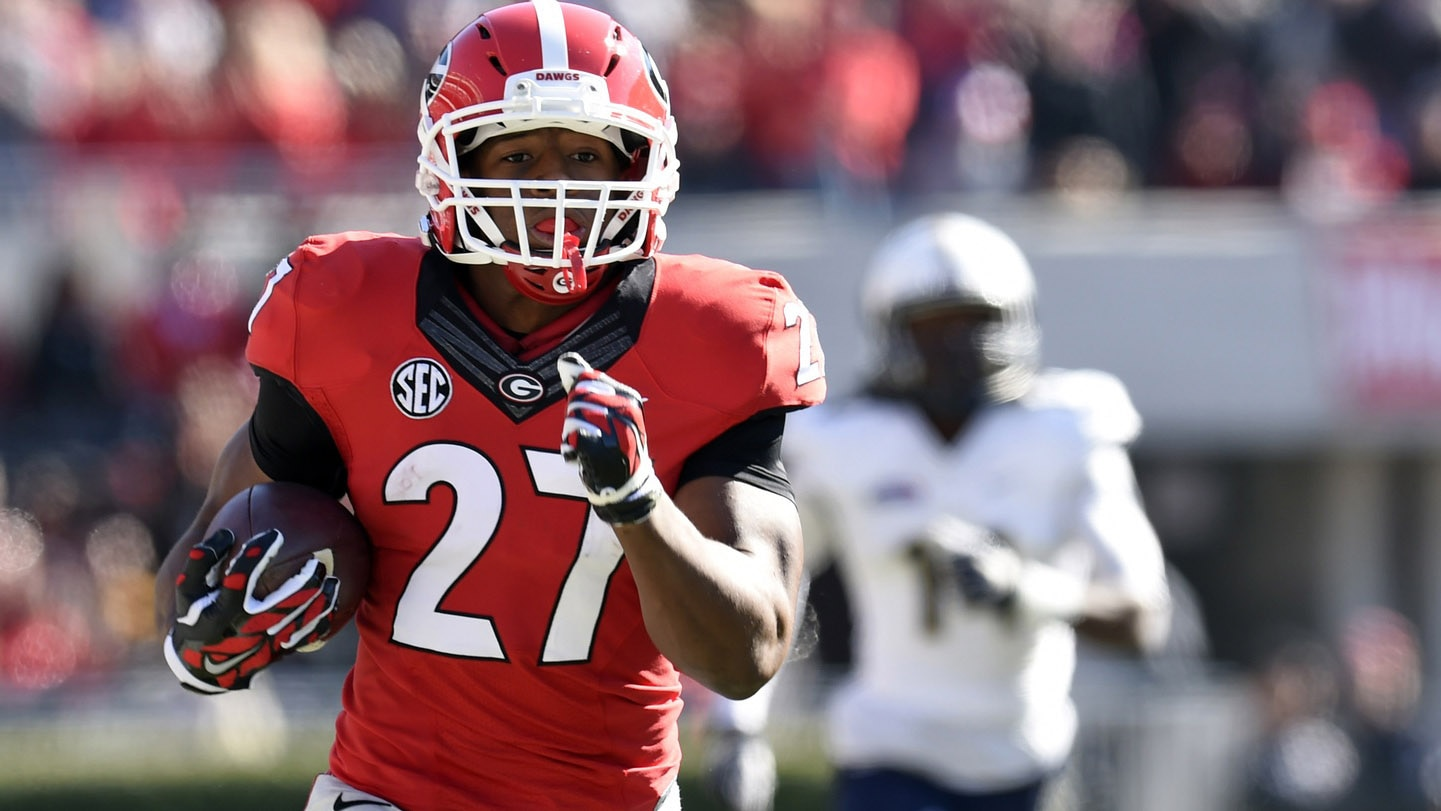 Georgia running back Nick Chubb has 599 yards rushing and six touchdowns on  the ground this season. ca6269e3b