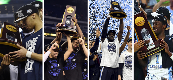 Twenty One Of The 32 Champs Since 1985 Including Past Four UConn Duke Villanova And UNC Have Donned Blue Share NCAA