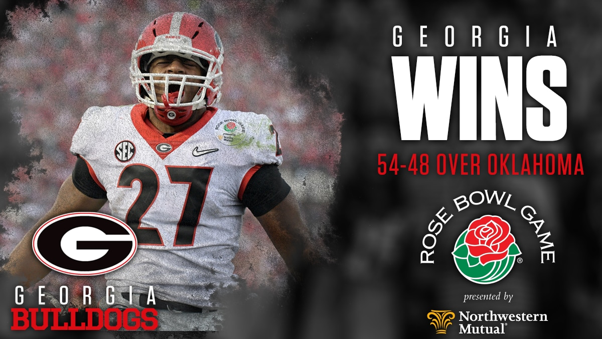 Fbs Rankings Playoff >> Georgia vs. Oklahoma score: Bulldogs walk off as Rose Bowl winners in double overtime thriller ...