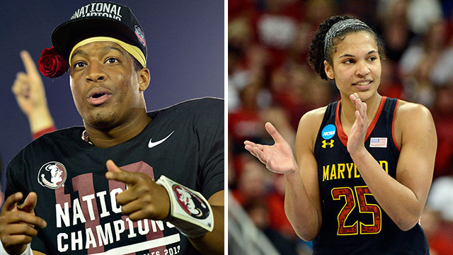 Florida State's Jameis Winston and Maryland's Alyssa Thomas