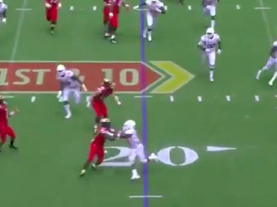 Jeshaun Jones throws for a touchdown against Texas