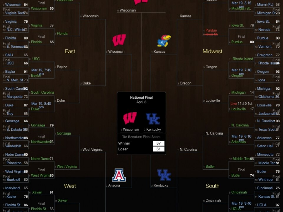 This Yahoo NCAA bracket stayed perfect the longest in 2017, through 39 correct games.