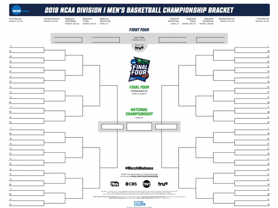 This is a picture of Zany March Madness Printable Bracket