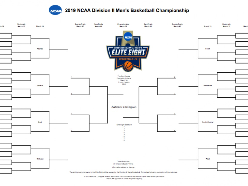 picture about Printable Kentucky Basketball Schedule known as NCAA DII bracket 2019: Printable DII mens basketball