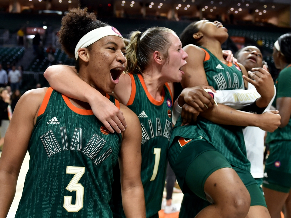 Women's basketball: Miami earns Team of the Week honors after upset of No. 2 Louisville