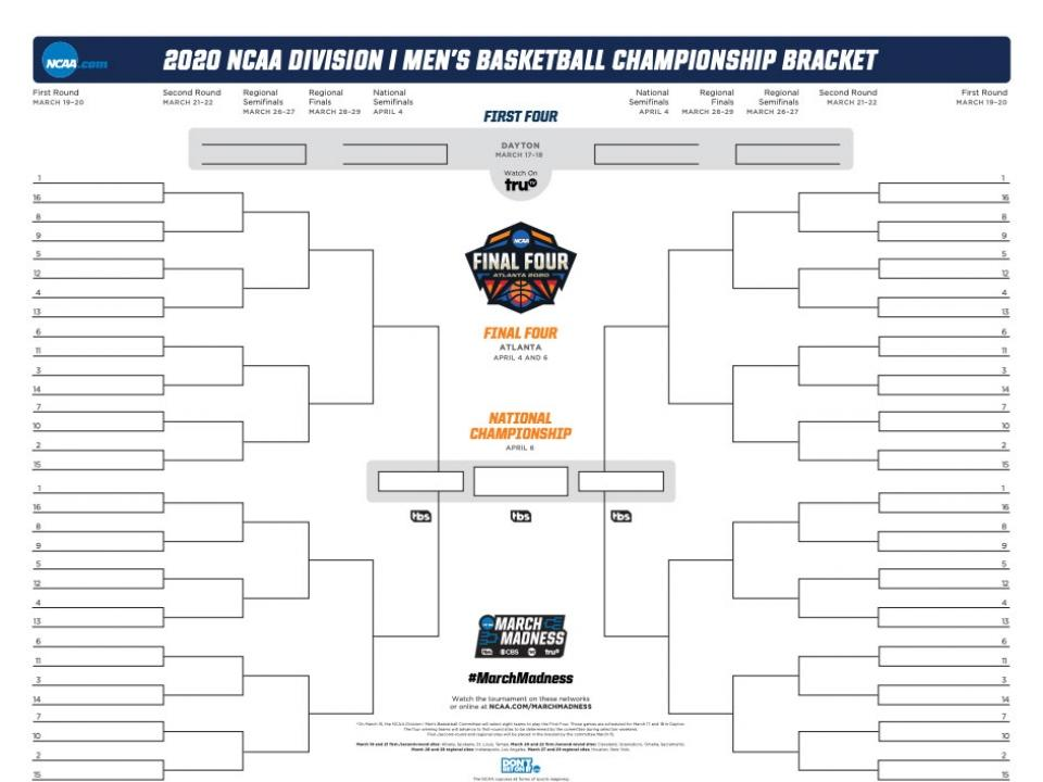 graphic about Ku Basketball Schedule Printable titled 2020 NCAA bracket: Printable March Insanity bracket .PDF