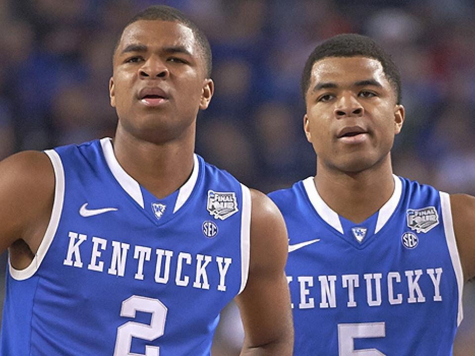Aaron (2) and Andrew Harrison will bring a year's experience to Kentucky's backcourt next season.