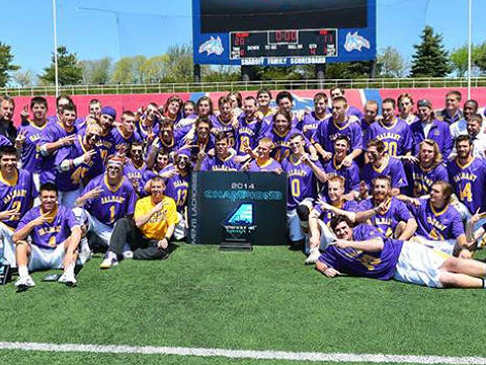 Albany celebrates its America East tournament title.