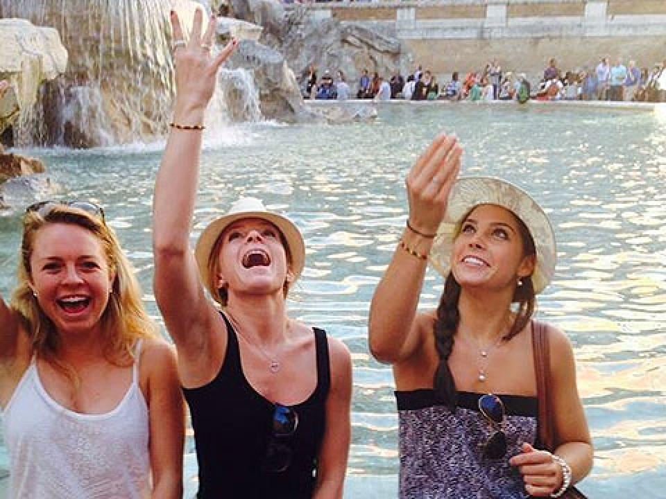 Lehigh players Katie Centeno, Emily Korber and Madi Morgan enjoy a little European fun.