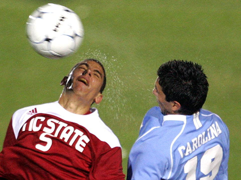 NC State's Farouk Bseiso battles for a header in a game in 2009.