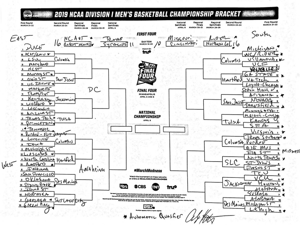 picture relating to Si Printable Bracket referred to as Andy Katz fills out his 2019 March Insanity bracket primarily based off of early year enjoy