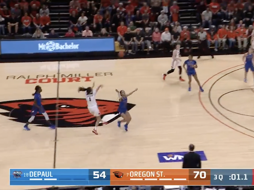 Oregon State's half-court heave leads women's basketball plays of the week
