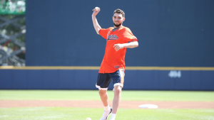Ty Jerome continues his NCAA championship tour by throwing out the first pitch at Virginia's baseball game