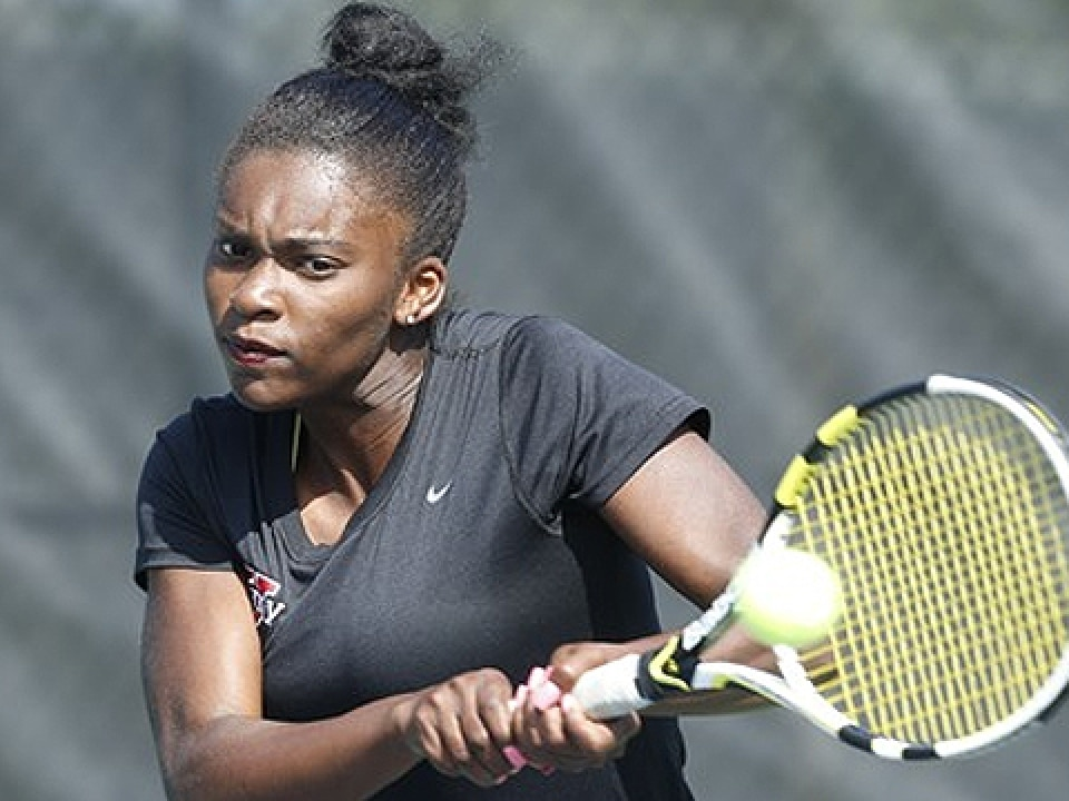 Elisabeth Abanda is tied for Barry's team lead with 16 wins.