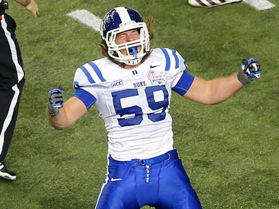 Kelby Brown was second on Duke last season with 57 solo tackles.