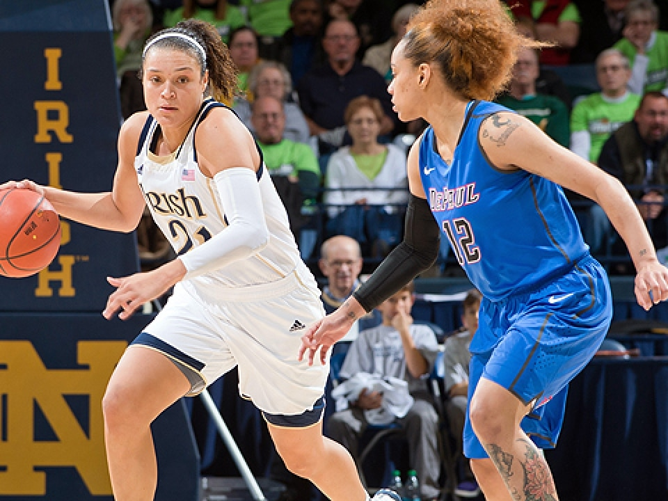 Notre Dame's Kayla McBride and DePaul's Brittany Hrynko
