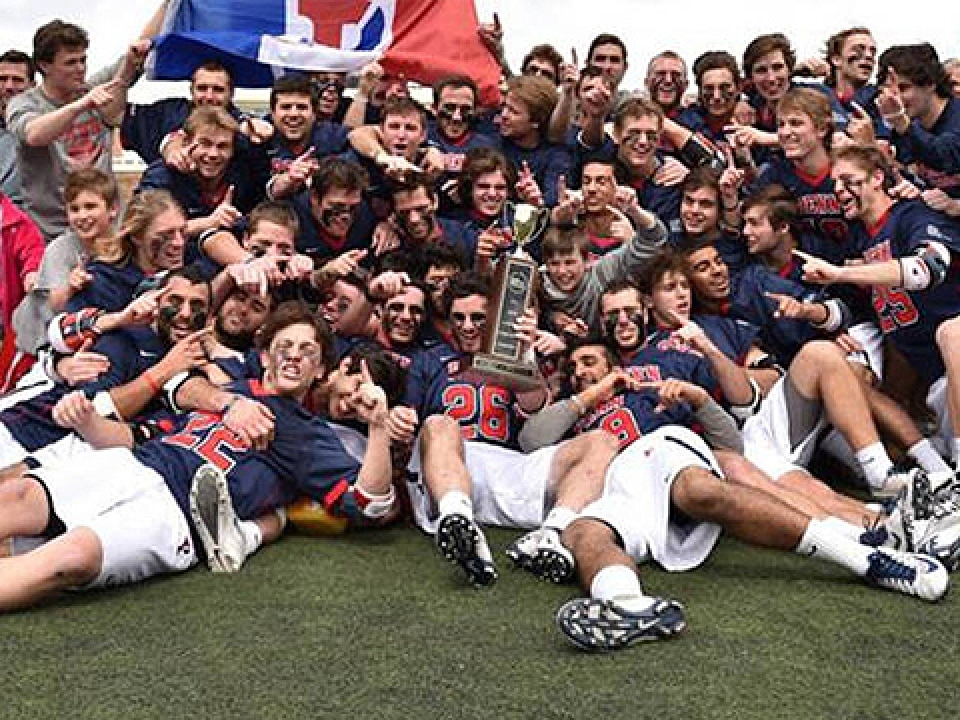 Penn celebrates its Ivy League tournament title.