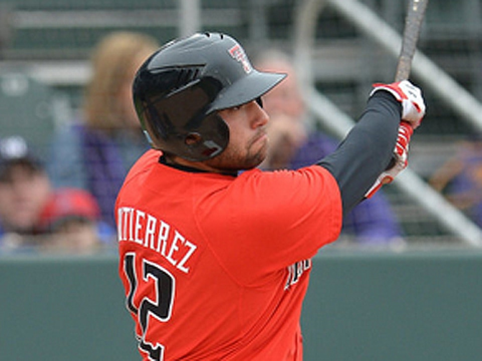 Texas Tech's Eric Gutierrez leads the Big 12 in home runs with 12 and in RBI with 58.