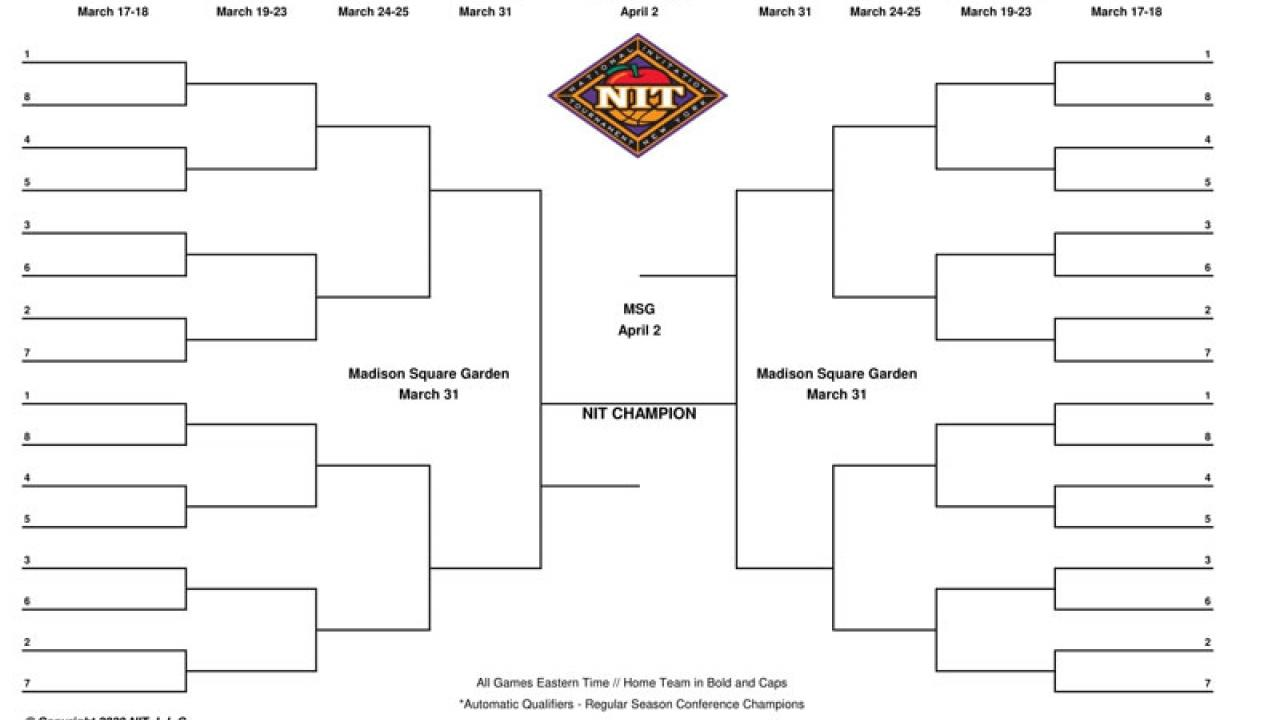 It is a picture of Nit Bracket Printable with final 4 2018