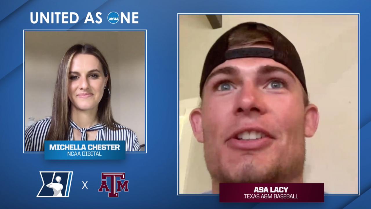 #UnitedAsOne: Texas A&M baseball's Asa Lacy talks pre-game routine, favorite moment of his college career