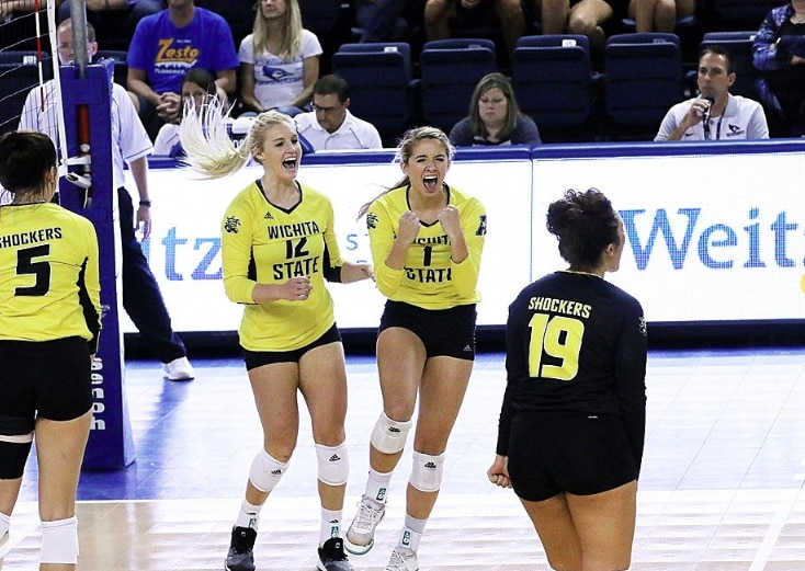 Jordan Roberts (right) reacts during a match against Creighton this season.