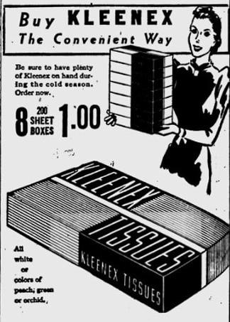 Kleenex ad 1939