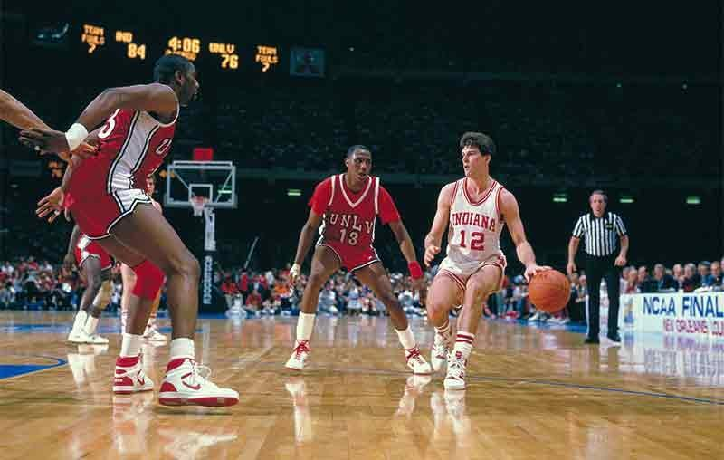 Steve Alford plays in the 1987 NCAA Final Four.